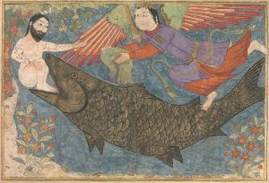 يونس، الحوت، والملك الذي يسلمه اليقطين، من الفن الإسلامي. المصدر: ويكيبيديا
